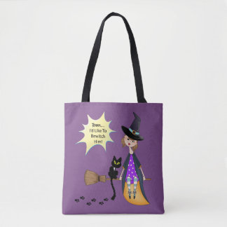 Hmmm, I'd Like To Bewitch Him - Witch and Cat Tote Bag