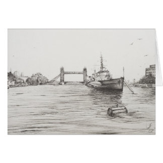 HMS Belfast on the river Thames London.2006 Card