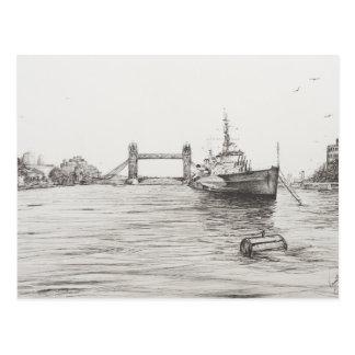 HMS Belfast on the river Thames London.2006 Postcard