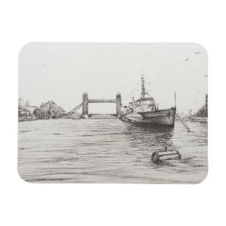 HMS Belfast on the river Thames London.2006 Rectangular Photo Magnet