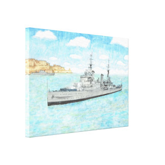 HMS Birmingham in Malta Canvas Print
