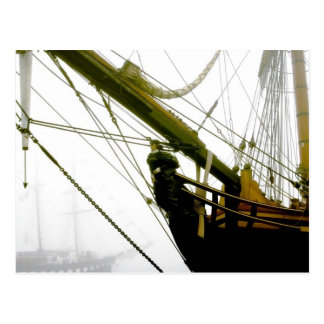 HMS Bounty Emerging from the Mist Postcard