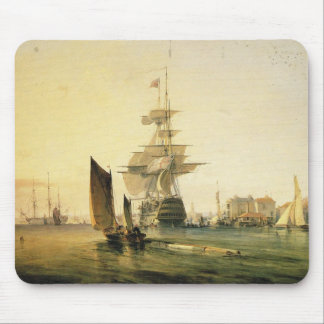 HMS Britannia entering Portsmouth, 1835 Mouse Pad