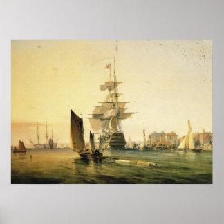 HMS Britannia entering Portsmouth, 1835 Poster