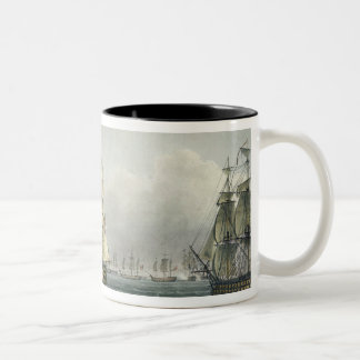 HMS Victory sailing for the French line flanked by Mug