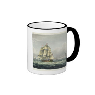 HMS Victory sailing for the French line flanked by Mugs
