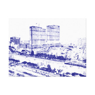 Ho Chi Minh City in Vietnam ~ Blue Sketch Style Canvas Print