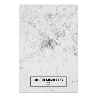 Ho Chi Minh City, Vietnam (black on white) Poster
