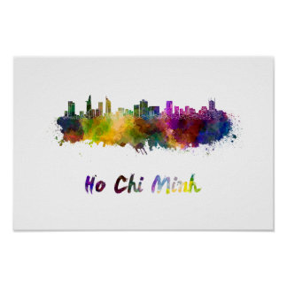 Ho Chi Minh skyline in watercolor Poster