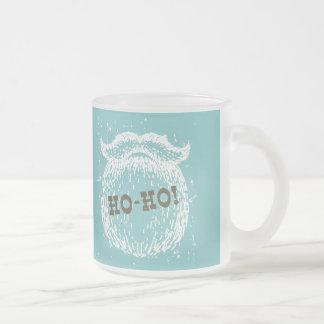 Ho-Ho Christmas Holiday Santa Noel Frosted Glass Coffee Mug