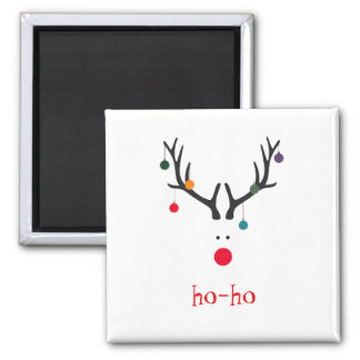 Ho ho funny cute abstract Santa Claus reindeer Magnet