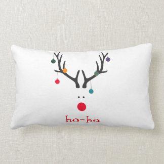 Ho ho funny cute modern Santa Claus reindeer white Lumbar Pillow
