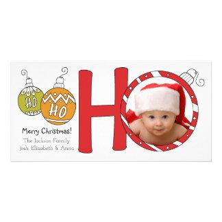 HO HO HO carte photo de famille de Joyeux Noël Photocartes