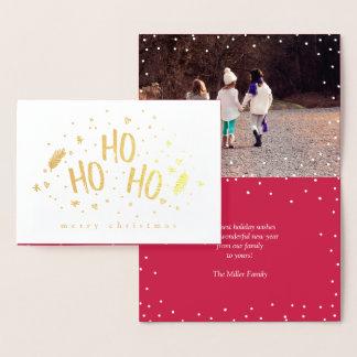 Ho Ho Ho Charming Merry Christmas Photo Foil Card