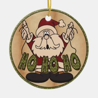 Ho Ho Ho Chirstmas Santa Round Ceramic Ornament