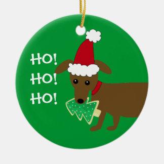 HO! HO! HO! Christmas Dachshund Round Ceramic Ornament
