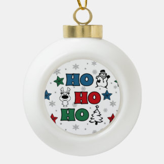 Ho-Ho-Ho Christmas design Ceramic Ball Christmas Ornament