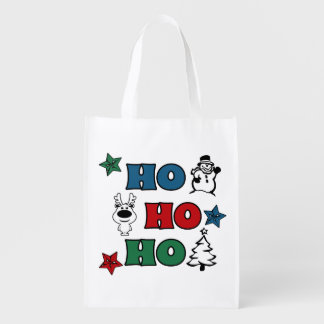 Ho-Ho-Ho Christmas design Reusable Grocery Bag