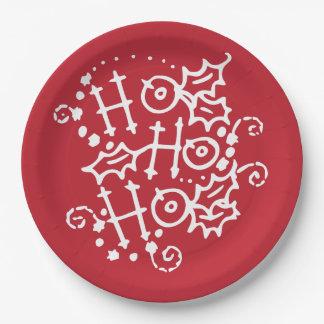 Ho Ho Ho Christmas Holiday Paper Plates