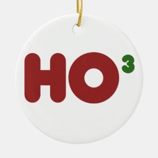 Ho ho ho christmas humor round ceramic ornament