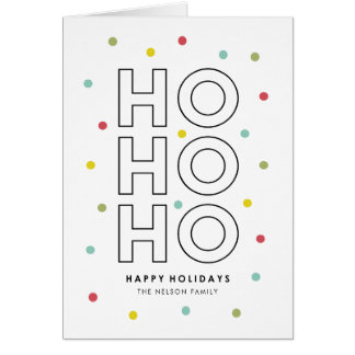 Ho Ho Ho Colorful Confetti Dots Holiday Card