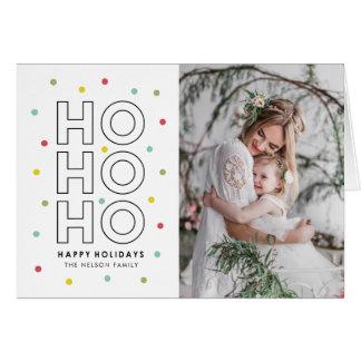 Ho Ho Ho Colorful Confetti Dots Holiday Photo Card