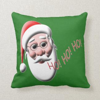 Ho ! Ho ! Ho ! Coussin vert de Noël du père noël
