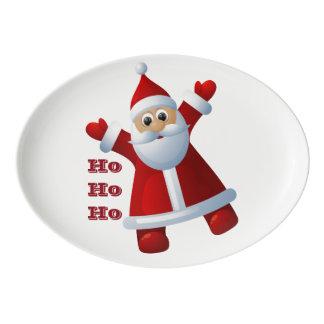 HO! HO! HO! Cute Santa Claus Merry Christmas Porcelain Serving Platter