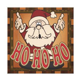 Ho Ho Ho Holiday Santa Claus Canvas Gallery Wrapped Canvas