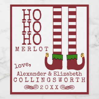 Ho Ho Ho Merlot Christmas Wine Label Personalized