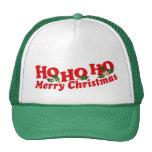 """""""Ho Ho Ho Merry Christmas"""" green & white hat"""