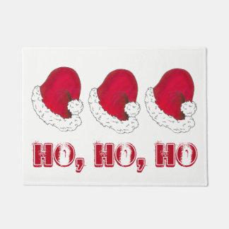 HO HO HO Merry Christmas Red Santa Claus Hat Xmas Doormat