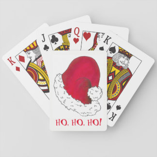 Ho Ho Ho Merry Christmas Red Santa Claus Hat Xmas Playing Cards