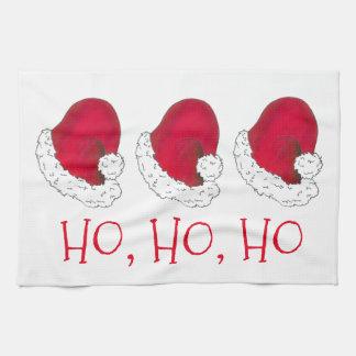 Ho Ho Ho Merry Christmas Red Santa Hat Hats Towel