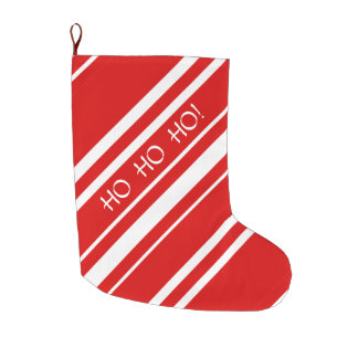 HO HO HO Merry Christmas Red White Stripe Stocking