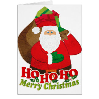 Ho Ho Ho Merry Christmas santa sack white card