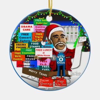 Ho Ho Ho Obama Round Ceramic Ornament