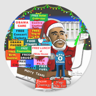 Ho Ho Ho Obama Round Sticker
