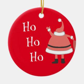 Ho Ho Ho Personalized Santa Round Ceramic Ornament