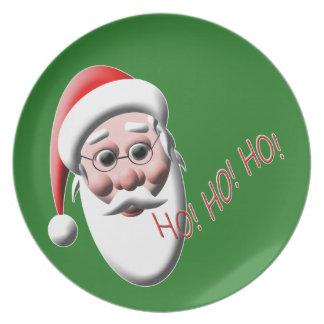 Ho ! Ho ! Ho ! Plat vert de Noël du père noël Assiettes Pour Soirée