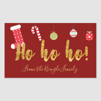 Ho Ho Ho Red Gold Personalized Cute Christmas Sticker