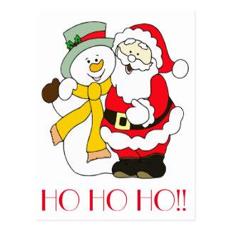 HO HO HO!! Santa and Snowman Postcard