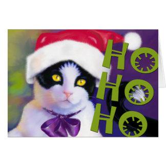 HO HO HO Santa cat Card