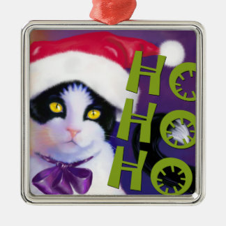 Ho Ho Ho Santa Cat sq.Ornament Metal Ornament