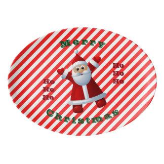 HO! HO! HO! Santa Claus Merry Christmas Candy Cane Porcelain Serving Platter