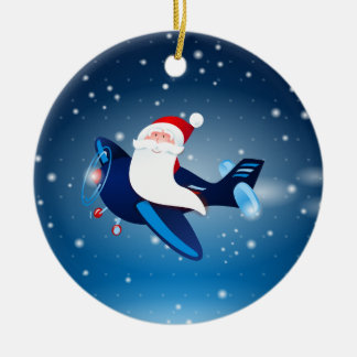 Ho ho ho! Santa on the airplane, ornament