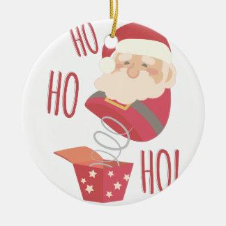 Ho Ho Ho Santa Round Ceramic Ornament