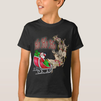 Ho Ho Ho Santa Sleigh and Reindeer T-Shirt