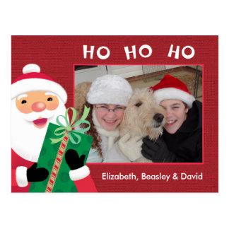 HO HO HO Santa with Present Photo Postcard