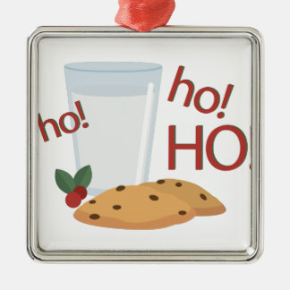 Ho Ho Ho Snack Silver-Colored Square Ornament